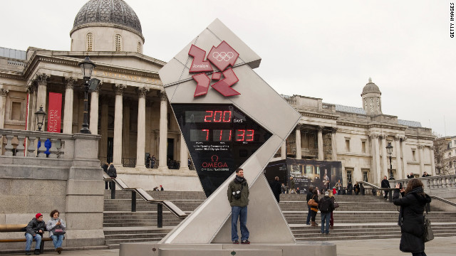 A large clock in London's iconic Trafalgar Square counts down the days, hours, minutes and seconds until the opening ceremony begins on July 27.