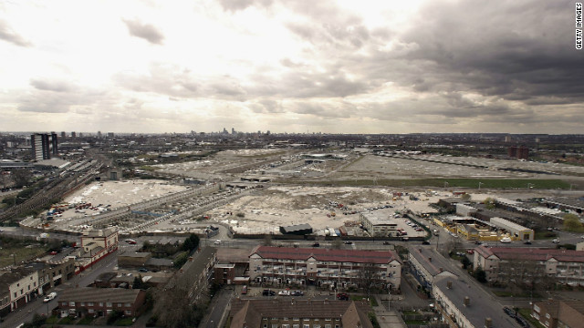 A shot of the Olympic Park site in the Stratford area of east London from April 2006, shortly after construction work began.
