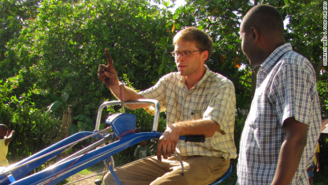 Agronomists Jamie Rhoads and Gregory Antenor test MFK's new tractor. MFK trains and educates Haitian farmers on how to plant using modern methods, treat seeds to avoid toxins and use new farming machinery.