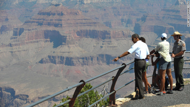 President Barack Obama and his family visit the Grand Canyon in Arizona in August 2009.