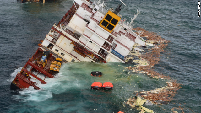 The bridge of MV Rena is seen just before submerging off the coast of Tauranga, New Zealand on January 10, 2012.