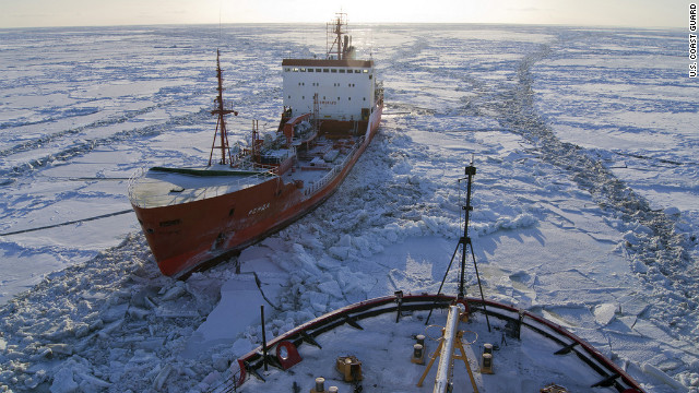 BERING SEA — The Russian-flagged tanker Renda, carrying more than 1.3 million gallons of fuel, sits in the ice while the Coast Guard Cutter Healy crew breaks the ice around the tanker approximately 19 miles northwest of Nunivak Island Jan. 6, 2012. The cutter Healy crew is escorting the Renda crew to Nome, Alaska, where the tanker crew will offload the needed fuel to the city. U.S. Coast Guard photo by cutter Healy.