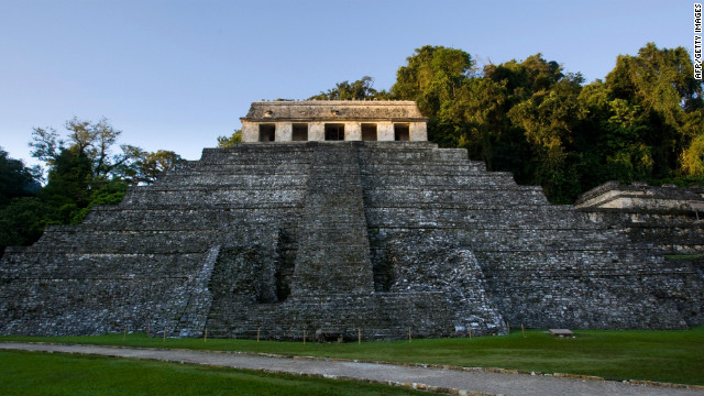 The steps of the Temple of Inscriptions at the Palenque archaeological site in Mexico.