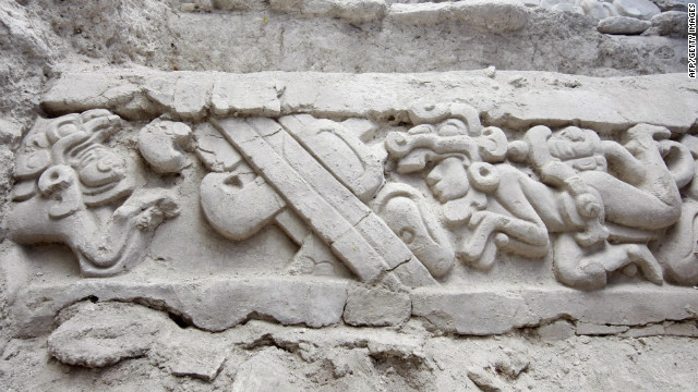 A Mayan frieze found at the remote El Mirador archaeological site in Guatemala.