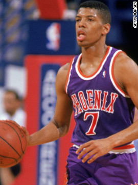 Kevin Johnson of the Phoenix Suns plays in an NBA game in 1989. In 2008 he became mayor of Sacramento, California.