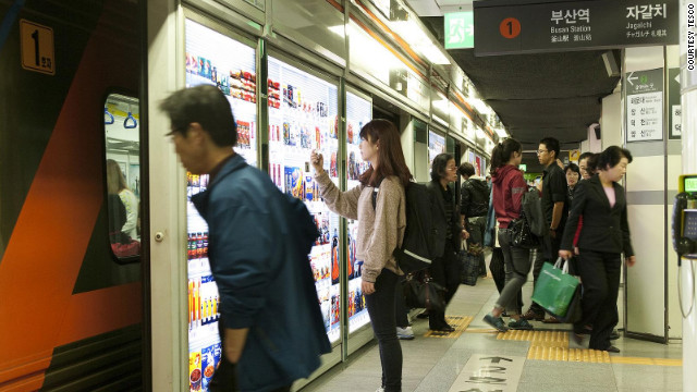 In Seoul subways, ditch the cart and grocery shop by phone