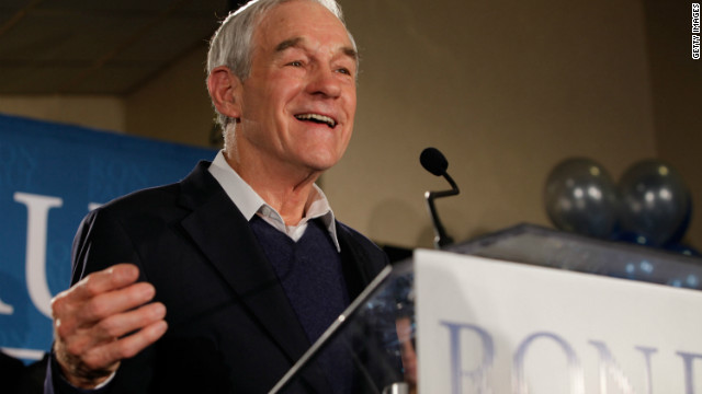 Rep. Ron Paul speaks to supporters after his strong showing in New Hampshire Tuesday night.