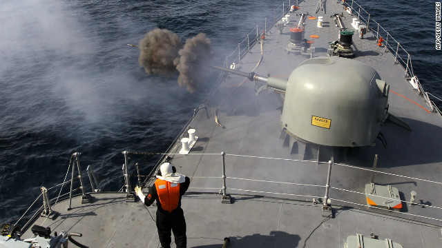 The Iranian navy conducts the 'Velayat-90' naval wargames in the Strait of Hormuz in southern Iran on January 1, 2012.