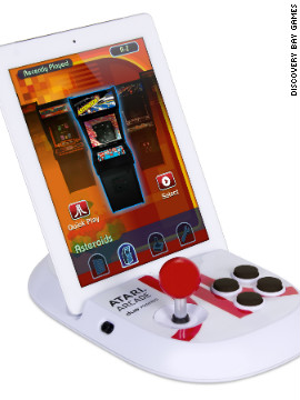 If you own an iPad and are nostalgic for those arcade video games of your misspent youth, <a href='http://discoverybaygames.com/appcessories/atari-arcade-duo-powered-joystick' target='_blank'>this gadget</a> is for you. Slip the iPad or iPad 2 into the dock, download an Atari app and wiggle the joystick to play Asteroids, Centipede and all those retro classics. Available: now. Price: $59.