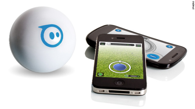 This <a href='http://www.gosphero.com/' target='_blank'>rechargeable robotic toy</a>, about the size of a softball, acts as if it has a mind of its own. But really it's controlled via Bluetooth by your Apple or Android device. You can make the ball roll around the house, change colors, play games and spook the family pet. Available: this month. Price: $129.