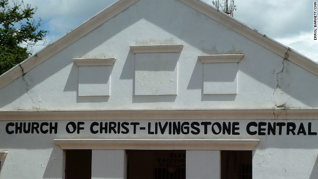 This church in the Zambian town of Livingstone was once a synagogue. The faint imprint of the Star of David can be seen in the facade over the main entrance.