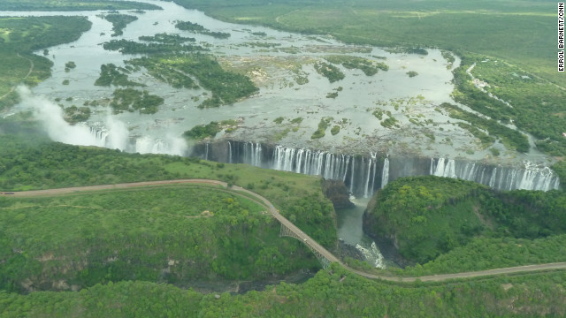 Victoria Falls, on the border between Zambia and Zimbabwe.