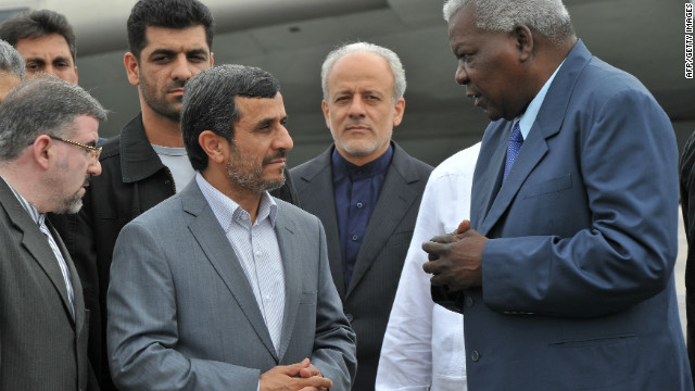 Mahmoud Ahmadinejad is welcomed by Cuban Vice-President Esteban Lazo on his arrival to Havana, on January 11, 2012.