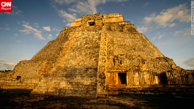 "Ronald Lee Breeze shared a photo of the ""Temple of the Wizard, also called ""Temple of the Dwarf."" ""I'm keenly interested in the history of the Mezo-Americans, specifically the Maya and have traveled to and photographed most of the Mayan cities."""