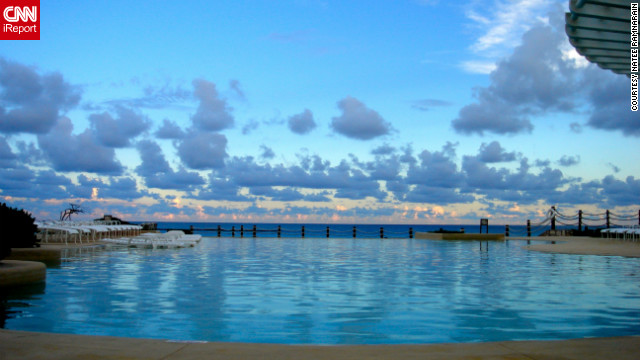 Natee Ramnarain took this serene photo while on her honeymoon in Cancun. &quot;It was at the Hyatt Cancun Caribe at one of the the two swimming pools they had on site. I was sitting in a cabana and thought the sky looked perfect.&quot;