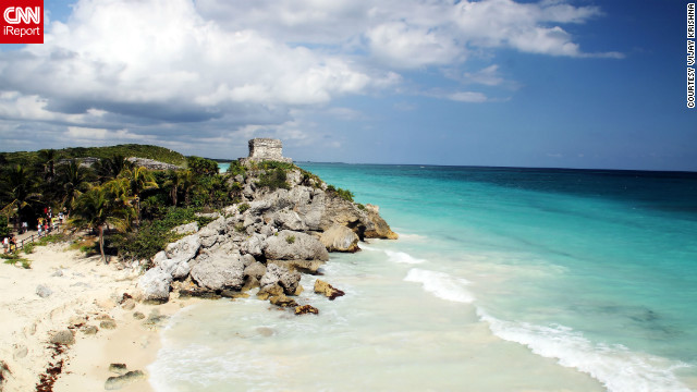Vijay Krishna captured this view of &quot;Mayan ruins along the blue ocean shores&quot; of Tulum. &quot;I would love to go there again for another relaxing vacation. The sea is absolutely stunning.&quot;