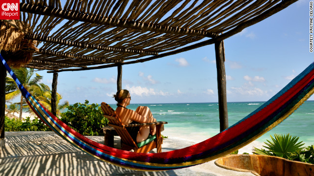 &quot;Tulum is a beautiful place south of Cancun if you yearn for a place that is rustic and unplugged,&quot; Kristine Celorio said. &quot;Unwinding is easy with the waves crashing outside your cabana. In this picture you can see the only three choices I had to make that day... hot tub, hammock, or ocean.&quot;