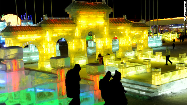 Visitors tour ice creations in Harbin, China, on January 6.