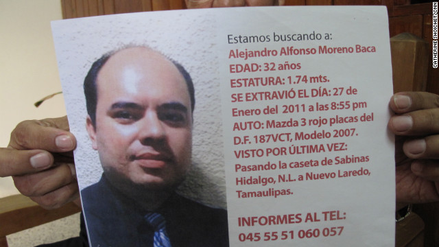 "Alejandro Moreno disappeared about an hour from the Mexico-U.S. border last January. The IBM systems engineer left a trail of clues that his parents have tried to follow. His father, Alfonso Moreno, says he has more information than authorities do. ""Unfortunately, organized crime is organized,"" he says. ""Our authorities aren't."""