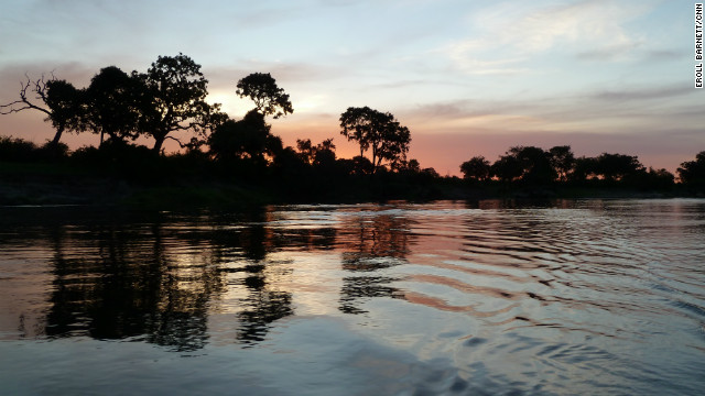 A sunset on the Zambezi river, next to Livingstone.