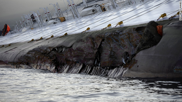 The ship had a breach on the hull about 90 meters (300 feet) long, according to Officer Emilio Del Santo of the Coastal Authorities of Livorno.
