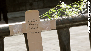 Activists in Mexico City created a cardboard cross marking a victim\'s death near Ciudad Juarez, Mexico, in January 2010.