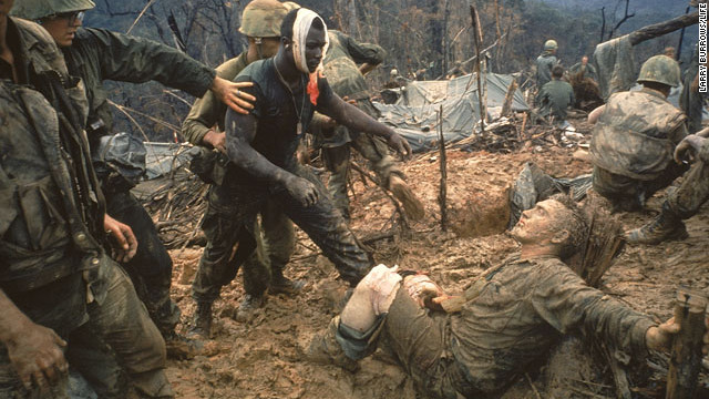 Larry Burrows, known for his color photos from Vietnam, took this photo of wounded U.S. Marines in 1966.