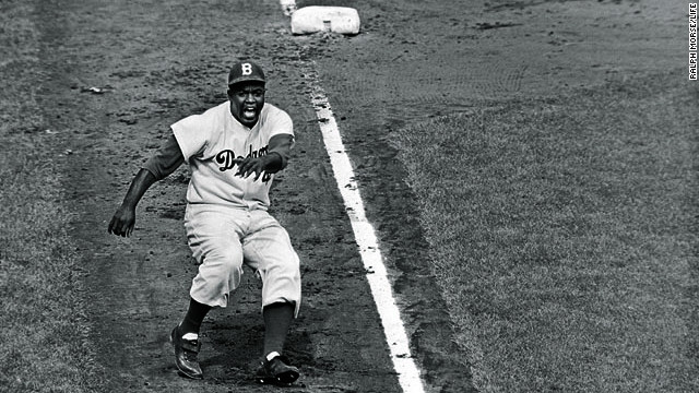 Jackie Robinson rounds third base in the 1955 World Series.