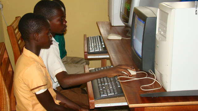 """The kids the first time are scared to touch the keyboard and the mouse, so you see a kid sit there like this and just look at the screen,"" says Owusu<!-- -->.</br><!-- --> </br> ""But you go there the next year when we do a follow-up visit and they want to grab me and show me what they can do with the computer."""