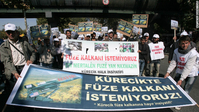 Protesters in Turkey demonstrate against the deployment of a NATO early warning radar system in October.