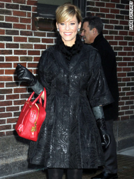 "Elizabeth Banks visits ""The Late Show"" in New York City."