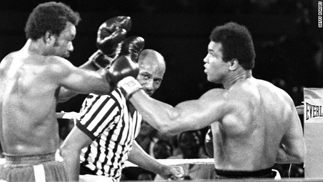 In 1974, Ali took part in one of the most famous world championship fights in the history of boxing. He took on reigning champion George Foreman in Zaire, in a fight which was dubbed the &quot;Rumble in the Jungle.&quot; Ali emerged victorious after flooring Foreman in the eighth round.