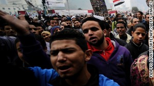 Egyptian protesters chant slogans in December 2011 during a Tahrir Square demonstration.