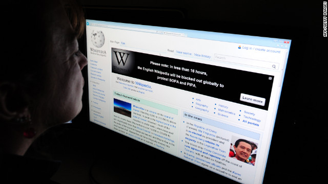 Wikipedia, other websites back after anti-piracy bill protest