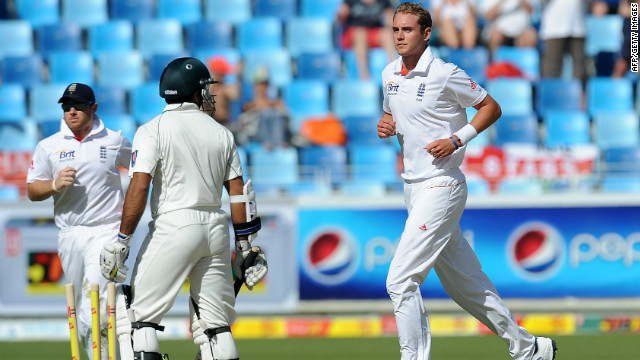 England fast bowler Stuart Broad bowled Pakistan opener Taufiq Umar for 58 in Dubai.
