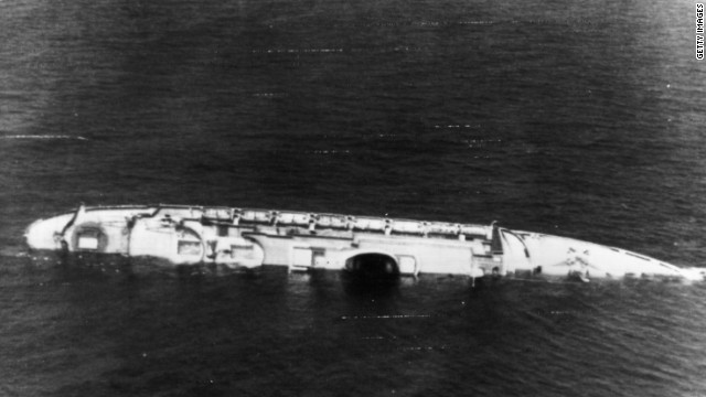 Italy's Andrea Doria lies a battered wreck after colliding with the Swedish liner Stockholm off the U.S. Northeast coast in 1956.