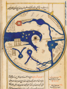 An illustration from the Ottoman book Tarih-i Hind-i Garbi, dating from1650 and showing the Ka'ba in Mecca as the center of the world.