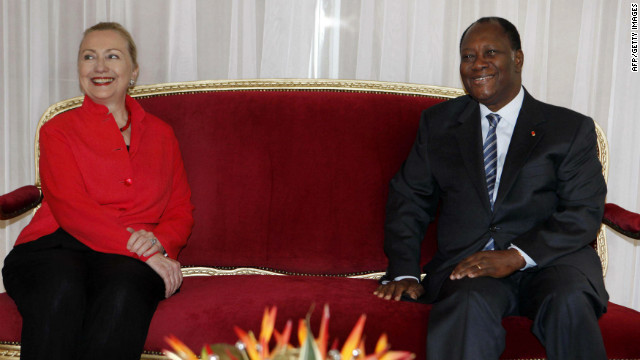 U.S. Secretary of State Hillary Clinton poses with Ivory Coast's President Alassane Ouattaraat in Abidjan on January 17, 2012.