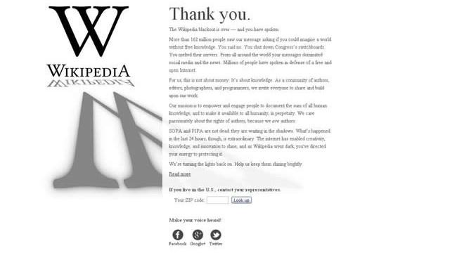 Wikipedia y otros sitios «regresan» de la protesta contra la ley SOPA