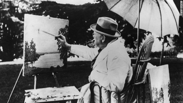Though best-known as Britain's leader during World War II, Winston Churchill was also an avid painter, which he saw as a refuge from the stress of his job. He is seen here at his easel, beside Lake Geneva.