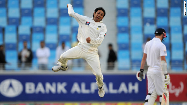 Spin bowler Saeed Ajmal celebrates dismissing Graeme Swann as Pakistan registered an emphatic win.