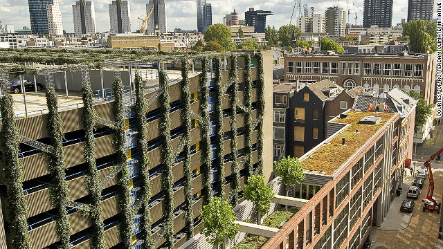 The WestBlaak Building (bottom left) in Rotterdam was recently fitted with a green facade which its developers, Rotterdam Climate Intiative, hope will cover large sections of the car park. It has also been created to aid water management and reduce CO2.