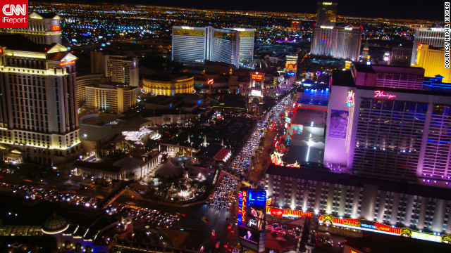 Nikhil Kikkeri captured this &quot;view of the Vegas strip looking towards the Mirage, shot from the top of the Eiffel Tower at the Paris Casino.&quot;