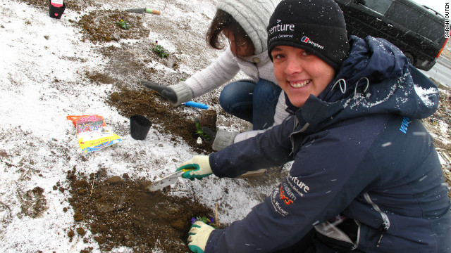 One of the first tasks British adventurer Sarah Outen did was to help plant a memorial garden on the plot where a house once stood.