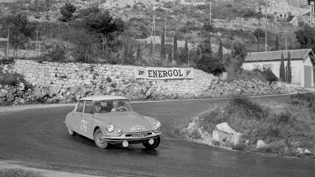 French driver Paul Coltelloni guides his Citroen around Monte Carlo's narrow twists and turns en route to winning the 1959 race.