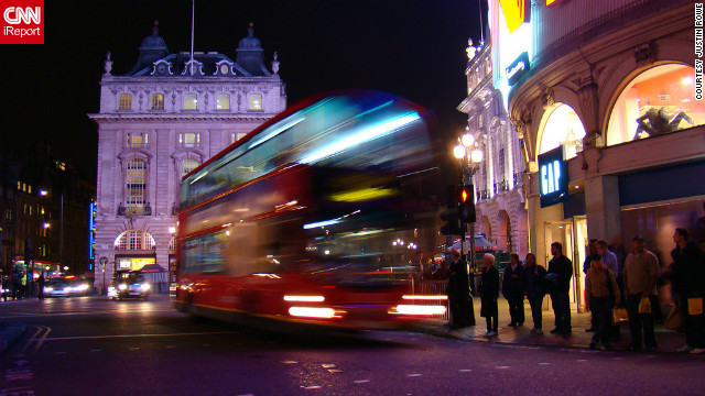 Justin Rowe snapped this shot of a doubledecker bus racing by at Picadilly Circus in London. &quot;I loved the city -- there is so much culture to be seen there.&quot;