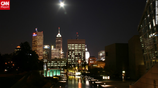 "Timothy Poole captured this view of the full moon over Indianapolis. ""I will say that I love living in Indianapolis. There is something always going on downtown and many options are within walking distance."""