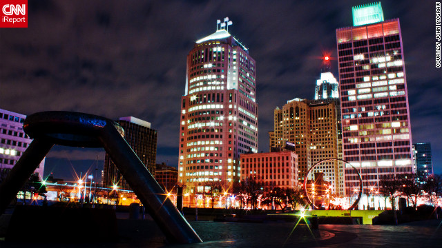 John McGraw is especially fond of taking night shots in his favorite cities, and captured this view while walking through Hart Plaza in Detroit.