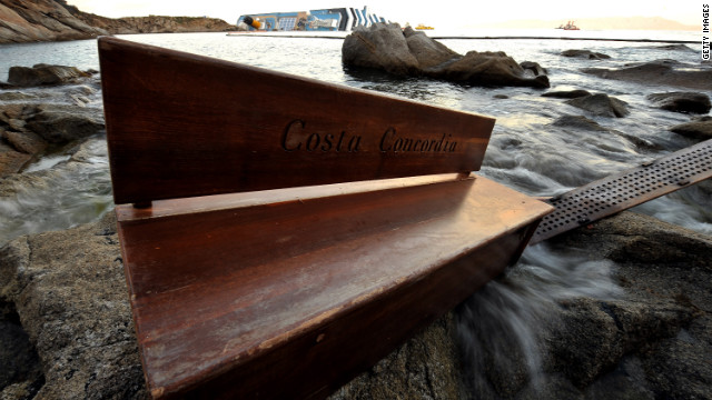 A bench from the cruise liner is seen on the shore on January 20, a week after the ship ran aground. More than 30 people from eight countries -- both crew and passengers -- died.