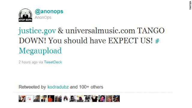 Anonymous contraataca al gobierno de EE.UU. tras el cierre de Megaupload.com